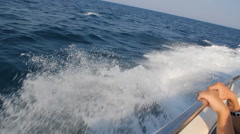 Stock Video Footage of Wake Of Fast Moving Motor Boat
