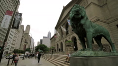 Chicago Art Institute Exterior, Front Entrance Stock Footage