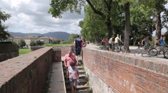 City Walls, Lucca, Tuscany, Italy, Europe - stock footage