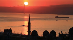 Stock Video Footage of Sunrise over Bosphorus in Istanbul