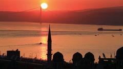 Sunrise over Bosphorus in Istanbul - stock footage