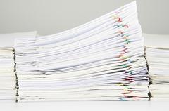 Stack of sales and receipt overload between paperwork Stock Photos