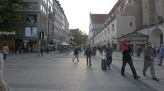 Walking on Neuhauser Strasse in Munich Stock Footage