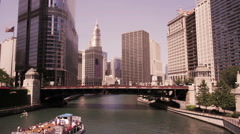 Stock Video Footage of Chicago Downtown River with Boat