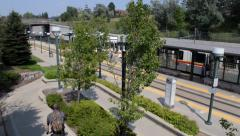Light Rail Station Train Bicycle Wheelchair Stock Footage