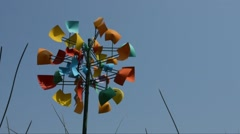 Wind Sculpture Blue Sky Tall Grass Stock Footage