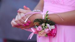 Bridesmaid are showing beautiful flowers on their hands. Stock Footage