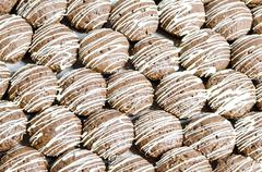 Bruin cookies with white chocolate stripes - stock photo
