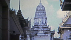SINGAPORE 1973: Southeast Asia temple architecture buildings statues and icons. Stock Footage