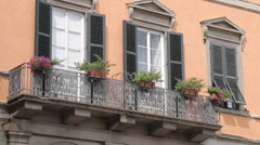 Balcony on Piazza Del Giglio, Lucca, Tuscany, Italy, Europe Stock Footage
