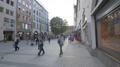 Tourists on Neuhauser Strasse in Munich Stock Footage
