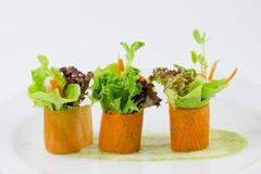 Finger food carrot salad roll Stock Photos