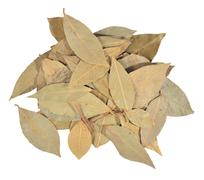 Dry bay laurel leaves on a white Stock Photos
