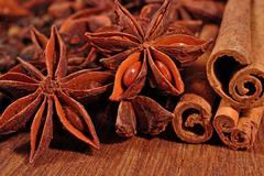Star anise and cinnamon sticks Stock Photos