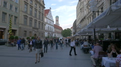Street view of the iconic domed towers of Frauenkirche, Munich Stock Footage