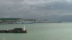 UK - Dover - Lighthouse and The White Cliffs from the Port of Dover Stock Footage