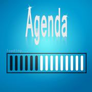 Blue loading bar with agenda word Stock Illustration