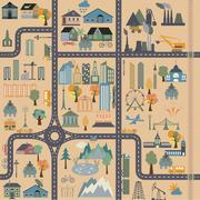 City map generator. City map example. Elements for creating your perfect city Stock Illustration