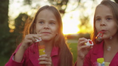 Two Twin Girls are Playing with Soap Bubbles at Park Stock Footage