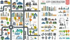 Stock Illustration of City map generator. City map example. Elements for creating your perfect city