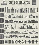 City map generator. Elements for creating your perfect city. Black and white - stock illustration