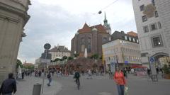 Saint Peter's Church seen form Viktualienmarkt in Munich Stock Footage