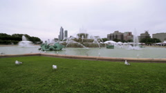 City Fountain with Seagulls, Chicago Buckingham Fountain Wide Angle Stock Footage
