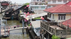 Local People Live With River View In Bangkok Stock Footage