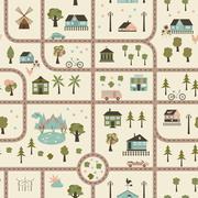 City map seamless pattern - stock illustration
