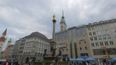Marienplatz with monuments and old buildings, Munich Stock Footage