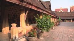 Courtyard and building  in Wat Si Saket monastery, Vientiane, Laos Stock Footage