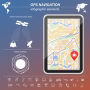 Global Positioning System, navigation. Infographic template Stock Illustration