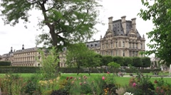 View towards the Louvre from the Jardin des Tuileries (in 4K) in Paris, France. Stock Footage