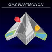 Global Positioning System, navigation. - stock illustration