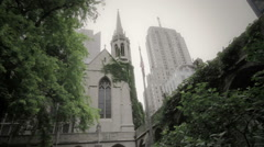 City Church Next to Modern Building Stock Footage