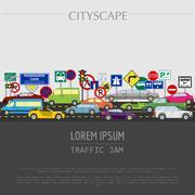 Cityscape graphic template. Modern city. Vector illustration. Traffic jam, tr Stock Illustration