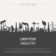 Stock Illustration of Cityscape graphic template. Industry city buildings. Vector illustration with