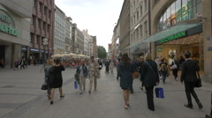 Kaufingerstrasse with stores and shopping malls in Munich Stock Footage
