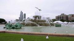 City Fountain with Seagulls, Buckingham Fountain Chicago Stock Footage
