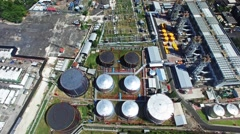 Flights above oil plants. Top view Stock Footage