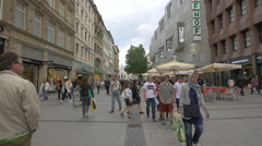The crowded Kaufingerstrasse in Munich Stock Footage