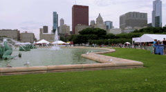 City Fountain Seagulls Pan, Chicago Buckingham Fountain Stock Footage