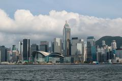 Convention and Exhibition Centre in an icon in Hong Kong. - stock photo