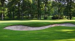 A sand trap at a golf course Stock Footage
