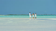 Young Caucasian family playing on beach by ocean shallows - stock footage