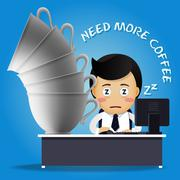 Sleepy man working on computer and many big coffee cups Stock Illustration