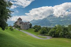 Vaduz Castle, the palace and official residence of the Prince of Liechtenstei - stock photo