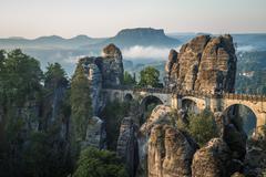 The Bastei bridge, Saxon Switzerland National Park, Germany Stock Photos