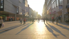 Walking in the city center of Munich at sunset Stock Footage