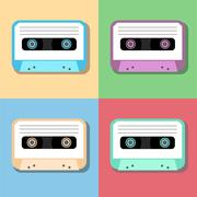 old vintage audio tapes icon - stock illustration